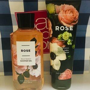 Lot of 2 Bath & Body Works ROSE Body Wash & Cream